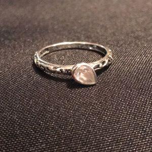 SILPADA .925 Sterling Belle Fleur Teardrop CZ Ring